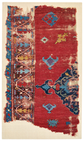 Two Fragments of a Red Central Medallion Carpet