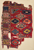 Fragment of a Red-Ground Three-Gül Rug